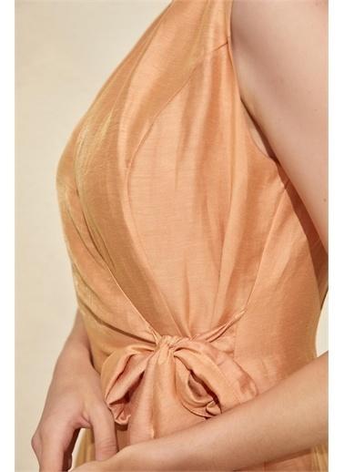 Setre Kiremit Kuşak Detaylı Midi Elbise Kiremit